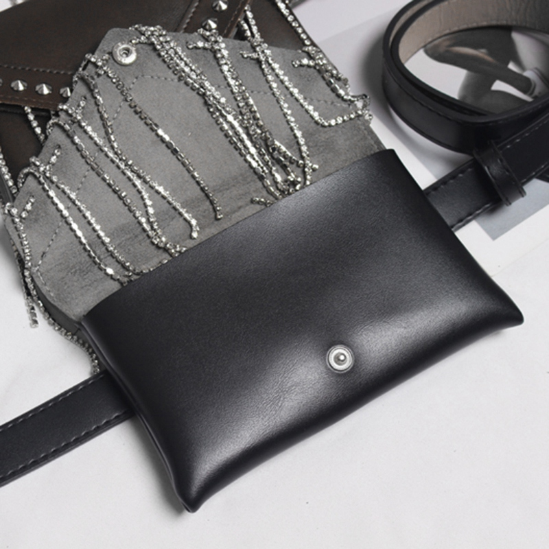 Detalles de 1X(Bolso De Cintura Negro De Cuero De Pu Riñonera Para Mujer Bolso De Correa GCR