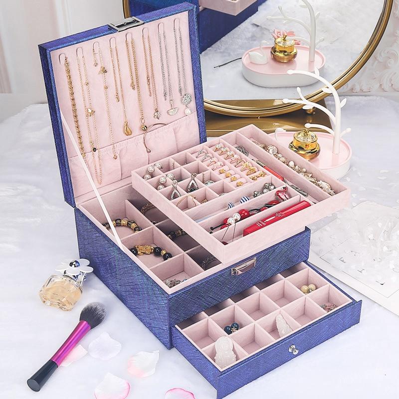 Caja-de-JoyeriA-PortaTil-de-MuLtiples-Capas-de-Cuero-de-Gran-Capacidad-Orga-Z9V4 miniatura 7
