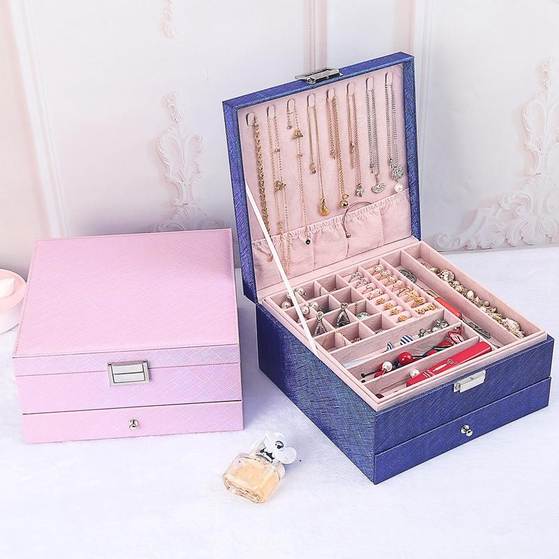Caja-de-JoyeriA-PortaTil-de-MuLtiples-Capas-de-Cuero-de-Gran-Capacidad-Orga-Z9V4 miniatura 8