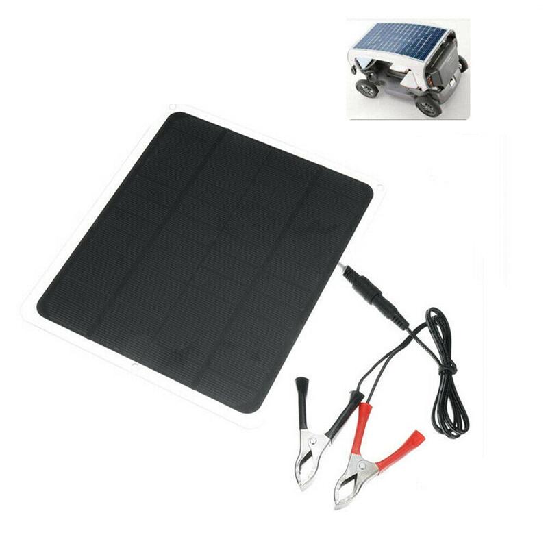 30W 12V Dual USB Kit Panneau Solaire Flexible Pince Crocodile Chargeur de L8H3