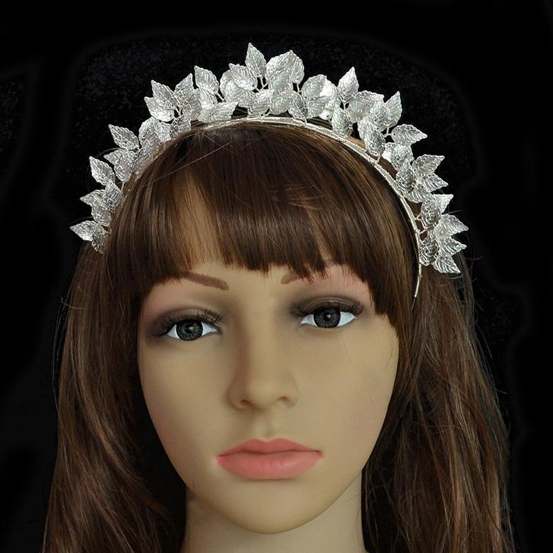 Fashion-Leaf-Flower-Hoop-Crown-Gold-Silver-Headband-Bridal-Headdress-WeddinP7S5 thumbnail 7