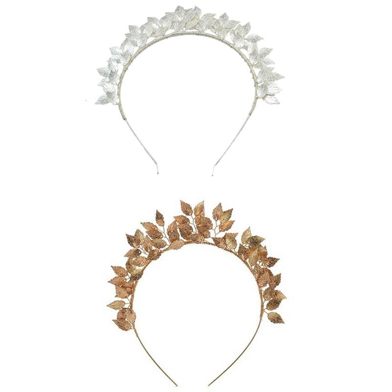 Fashion-Leaf-Flower-Hoop-Crown-Gold-Silver-Headband-Bridal-Headdress-WeddinP7S5 thumbnail 21
