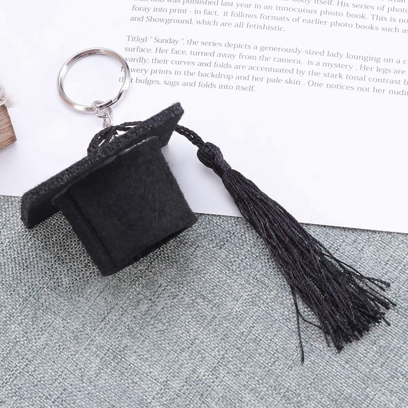 Graduation-Plush-Dr-Cap-Metal-Pendant-Keychain-Doctoral-Hat-Shaped-Charm-K-O2K1 thumbnail 4