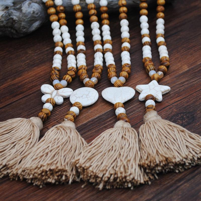 1X-Nuevo-Collar-de-JoyeriA-de-Piedra-Hecha-a-Mano-Collar-de-Borla-de-Piedra-G2M1 miniatura 4