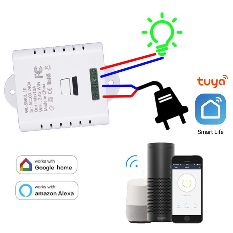 Wifi Smart Switch Relay 10A Tuya Smart Life App Wireless