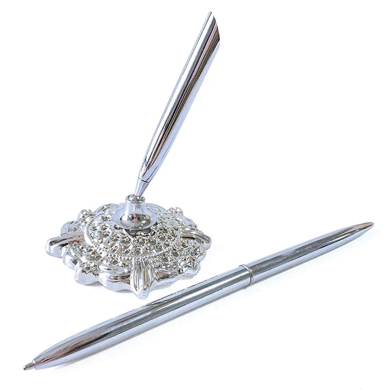 Hollow-Round-Pen-Holder-Signing-Pen-Set-for-Wedding-Bridal-Silver-H7B7 thumbnail 4