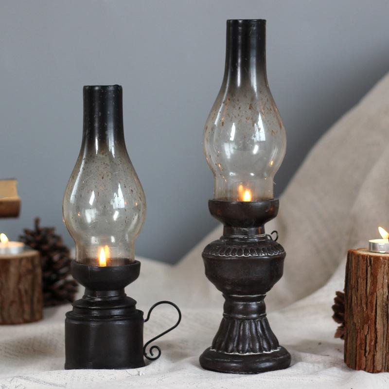 Retro-Vintage-Kerosene-Lamp-Candlestick-Resin-Crafts-Ornaments-Household-Li-E3F4 thumbnail 3
