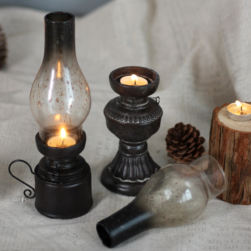 Retro-Vintage-Kerosene-Lamp-Candlestick-Resin-Crafts-Ornaments-Household-Li-E3F4 thumbnail 4