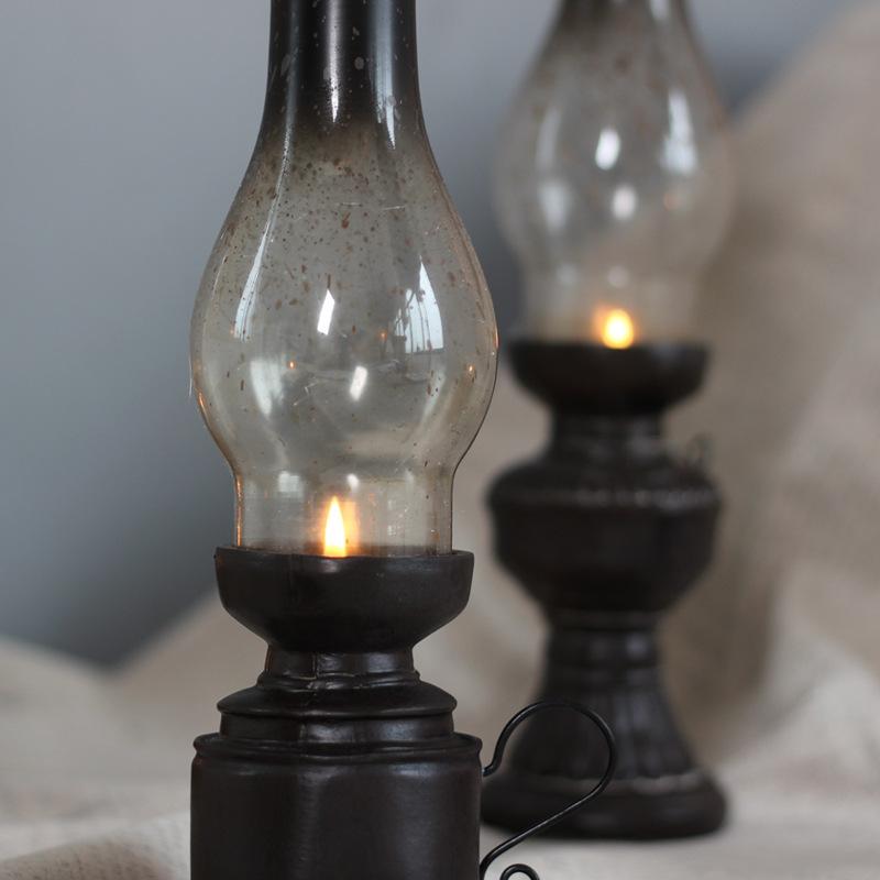 Retro-Vintage-Kerosene-Lamp-Candlestick-Resin-Crafts-Ornaments-Household-Li-E3F4 thumbnail 5