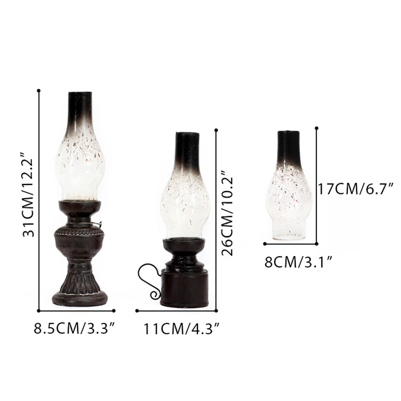 Retro-Vintage-Kerosene-Lamp-Candlestick-Resin-Crafts-Ornaments-Household-Li-E3F4 thumbnail 7