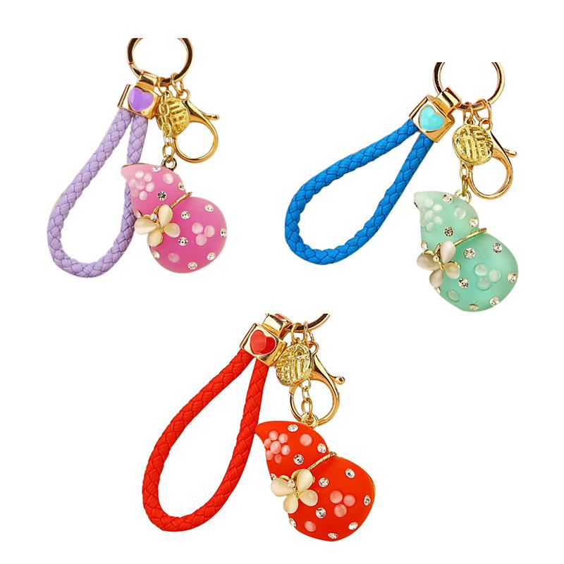 Regalo-Creativo-Rhinestone-Cute-Gourd-Car-Key-Chain-Mujer-Bolsa-Colgante-Llavero miniatura 3