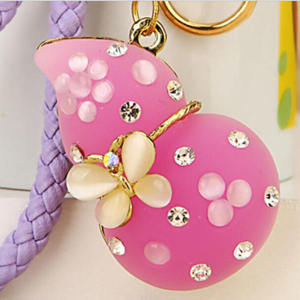 Regalo-Creativo-Rhinestone-Cute-Gourd-Car-Key-Chain-Mujer-Bolsa-Colgante-Llavero miniatura 4
