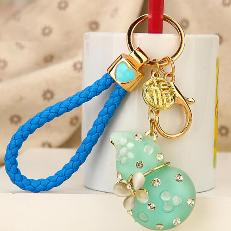 Regalo-Creativo-Rhinestone-Cute-Gourd-Car-Key-Chain-Mujer-Bolsa-Colgante-Llavero miniatura 9