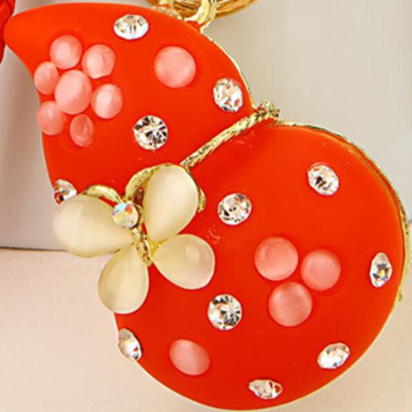 Regalo-Creativo-Rhinestone-Cute-Gourd-Car-Key-Chain-Mujer-Bolsa-Colgante-Llavero miniatura 16