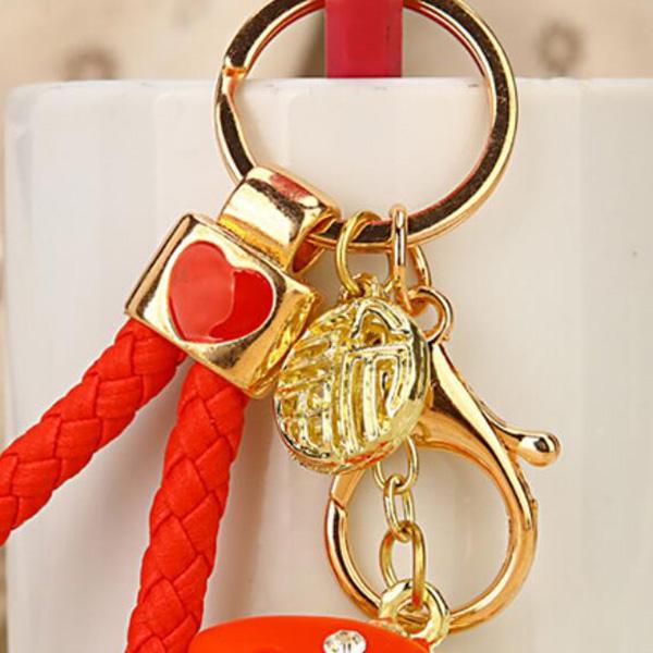 Regalo-Creativo-Rhinestone-Cute-Gourd-Car-Key-Chain-Mujer-Bolsa-Colgante-Llavero miniatura 18