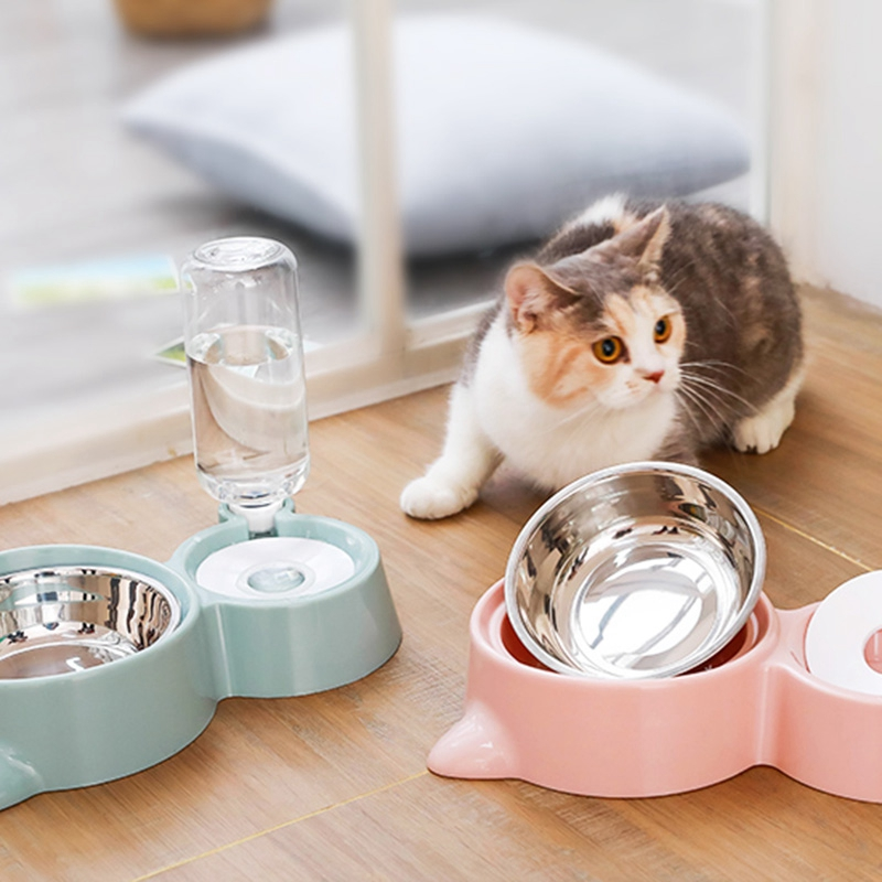 thumbnail 10 - Cat Bowl Dog Water Feeder Bowl Cat Kitten Drinking Fountain Food Dish Pet BY3N4