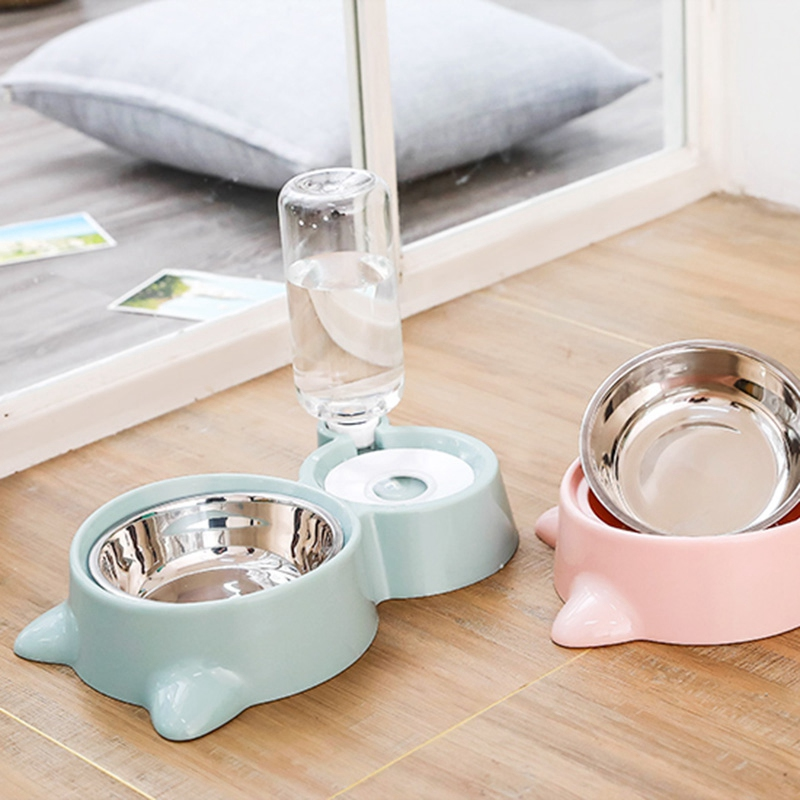 thumbnail 14 - Cat Bowl Dog Water Feeder Bowl Cat Kitten Drinking Fountain Food Dish Pet BY3N4