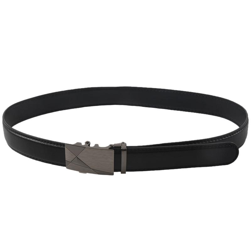 Luxus schwarzem Leder Automatische Maenner Beilaeufig Taillenband Taillen Bun WV