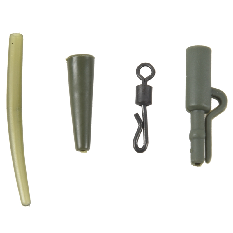 SET 40X End Tackle Karpfen Lead Clips Tailrubber Q-Wirbel #8 Anti Tangle Sleeves