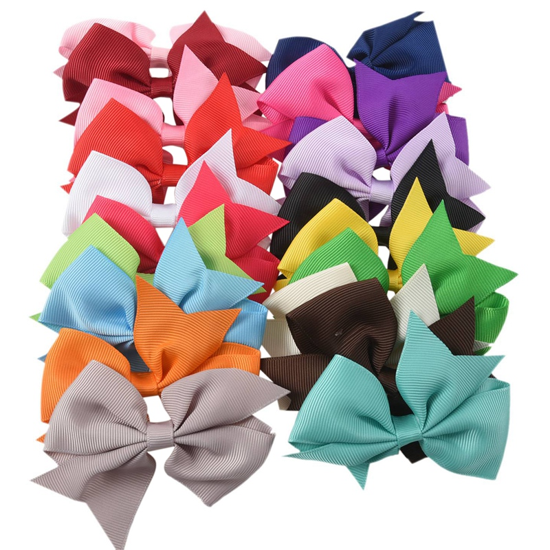 20pcs Big Hair Bows Boutique Girls Alligator Clip Grosgrain Ribbon Headband F5R2
