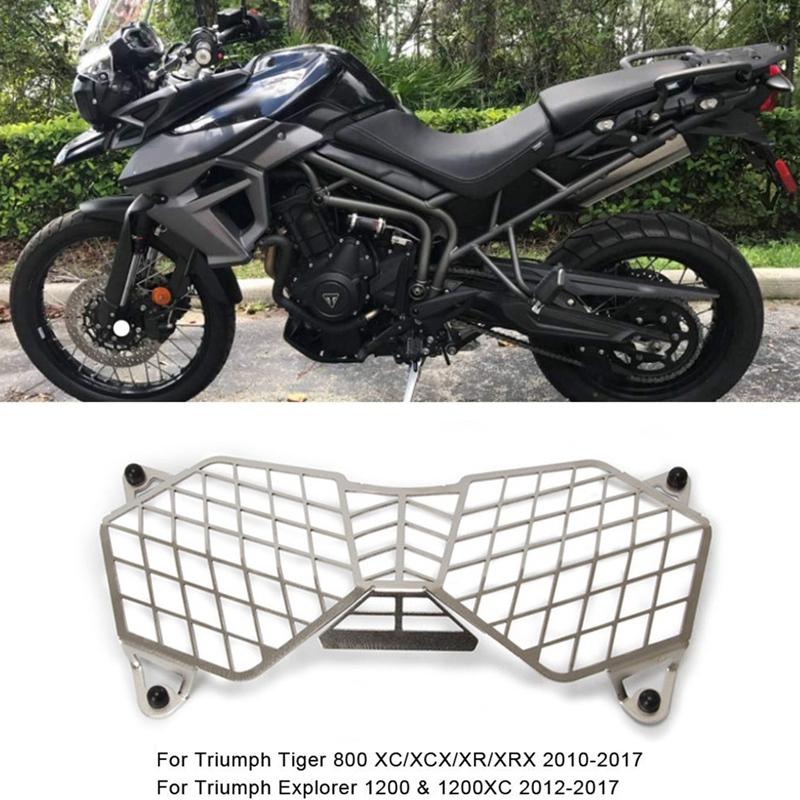 SODIAL Protector de la Cubierta de la Rejilla del Faro Delantero de la Motocicleta para Triumph Tiger Explorer 1200 1200XC 2012-2017