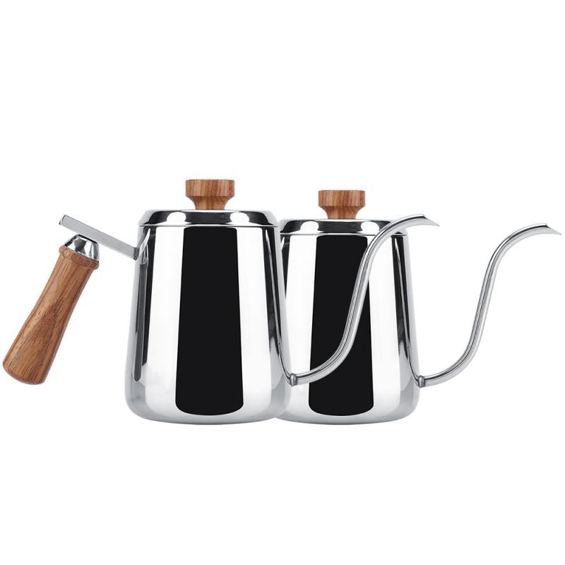 Acero-Inoxidable-Manejar-de-Madera-Goteo-Cafetera-CanO-de-Cuello-de-Cisne-B2Y6 miniatura 11