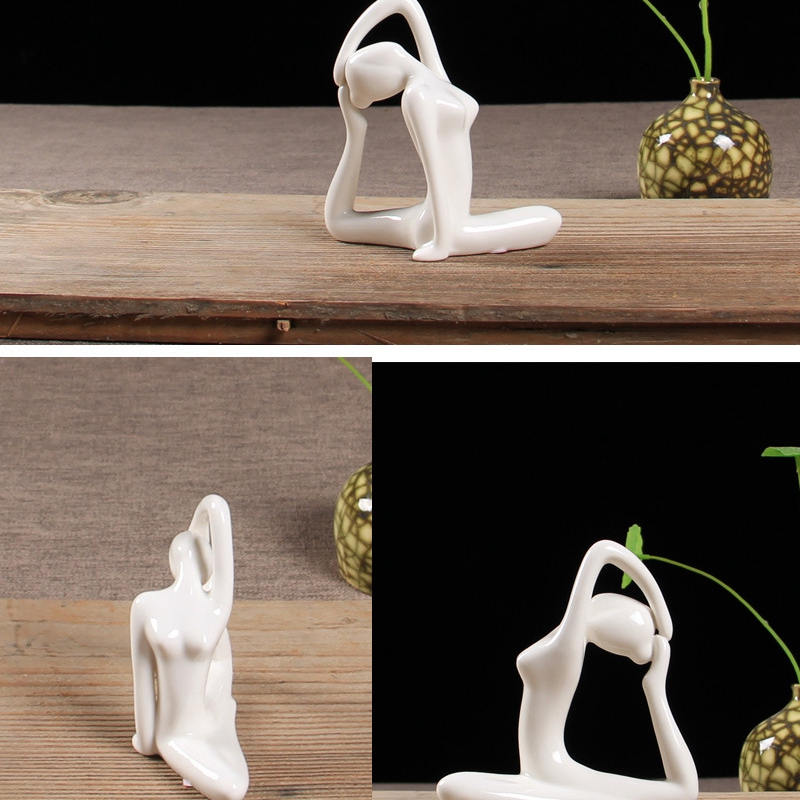 Abstract-Art-Ceramic-Yoga-Poses-Figurine-Porcelain-Yoga-Lady-Figure-Statue-H-4H9 miniature 4