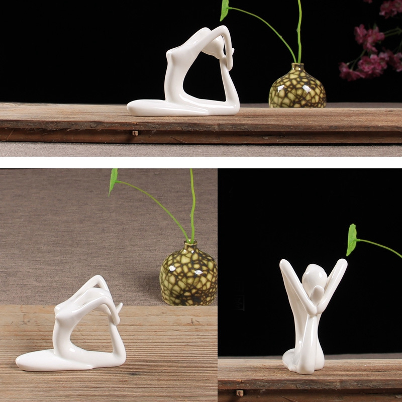 Abstract-Art-Ceramic-Yoga-Poses-Figurine-Porcelain-Yoga-Lady-Figure-Statue-H-4H9 miniature 5