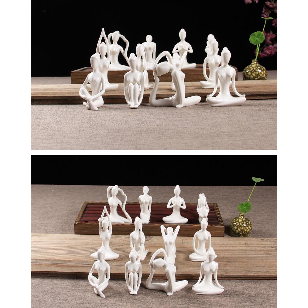 Abstract-Art-Ceramic-Yoga-Poses-Figurine-Porcelain-Yoga-Lady-Figure-Statue-H-4H9 miniature 7