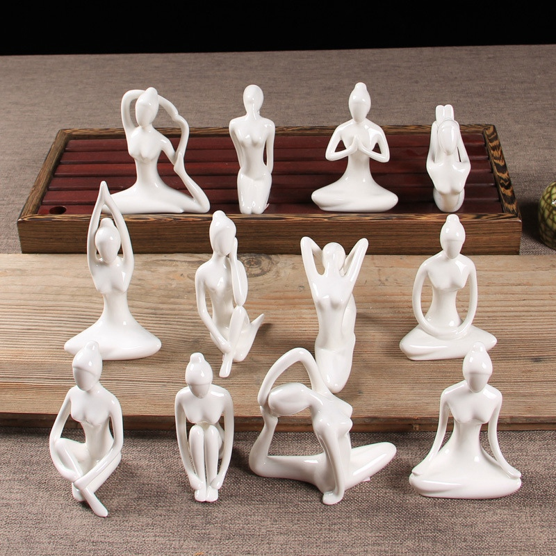 Abstract-Art-Ceramic-Yoga-Poses-Figurine-Porcelain-Yoga-Lady-Figure-Statue-H-4H9 miniature 25