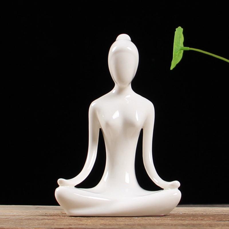 Abstract-Art-Ceramic-Yoga-Poses-Figurine-Porcelain-Yoga-Lady-Figure-Statue-H-4H9 miniature 27