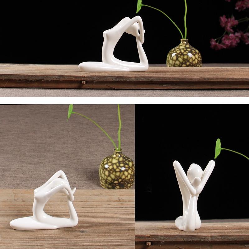 Abstract-Art-Ceramic-Yoga-Poses-Figurine-Porcelain-Yoga-Lady-Figure-Statue-H-4H9 miniature 45