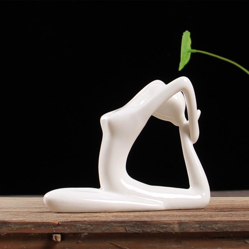 Abstract-Art-Ceramic-Yoga-Poses-Figurine-Porcelain-Yoga-Lady-Figure-Statue-H-4H9 miniature 51