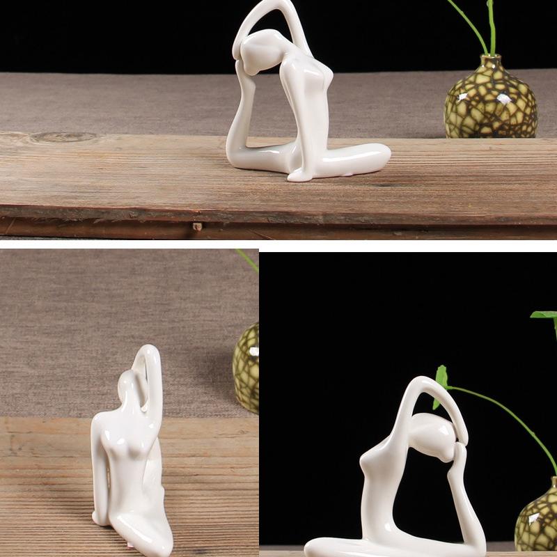 Abstract-Art-Ceramic-Yoga-Poses-Figurine-Porcelain-Yoga-Lady-Figure-Statue-H-4H9 miniature 60