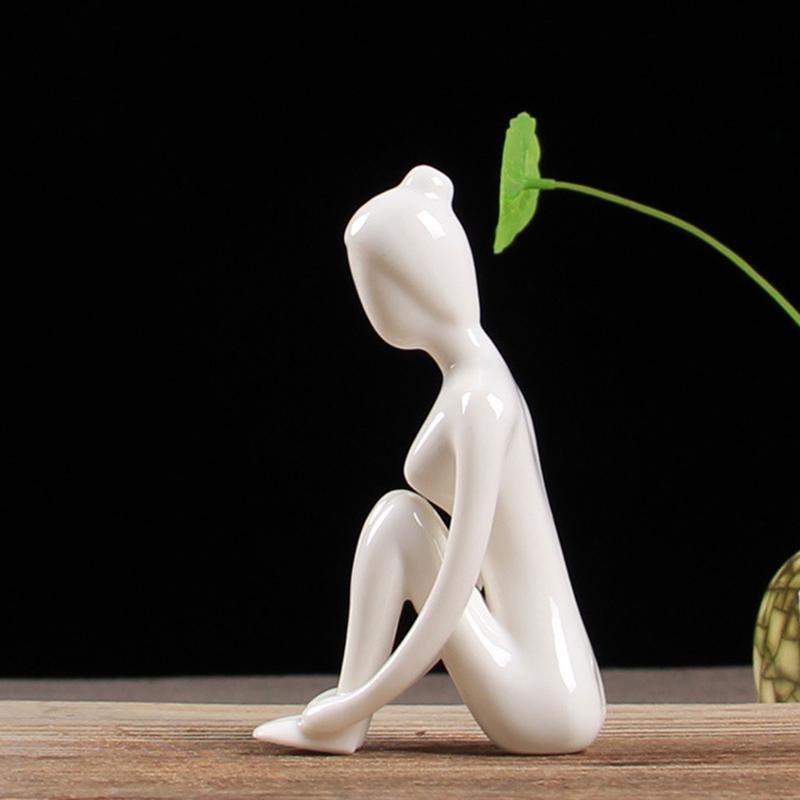 Abstract-Art-Ceramic-Yoga-Poses-Figurine-Porcelain-Yoga-Lady-Figure-Statue-H-4H9 miniature 67