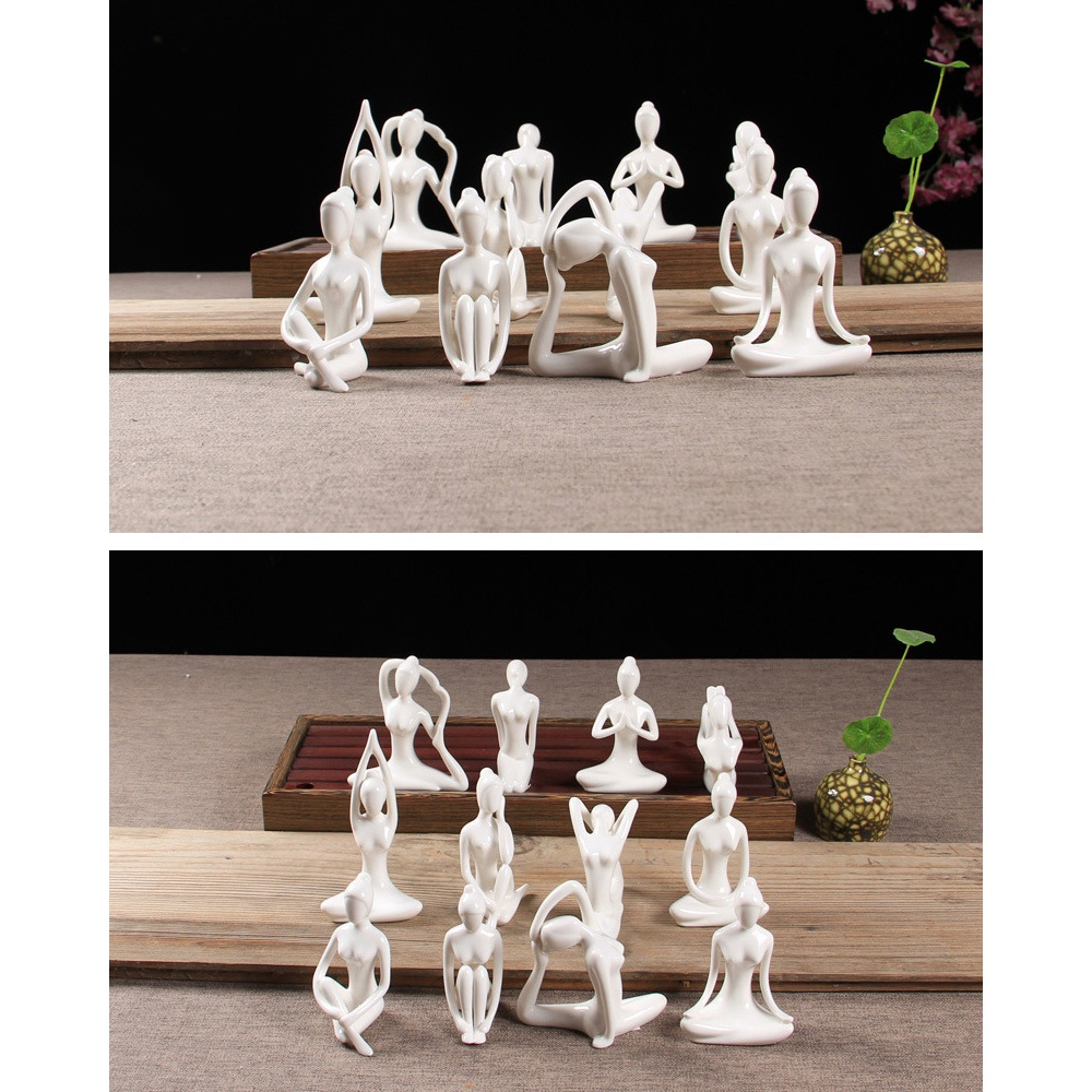 Abstract-Art-Ceramic-Yoga-Poses-Figurine-Porcelain-Yoga-Lady-Figure-Statue-H-4H9 miniature 71