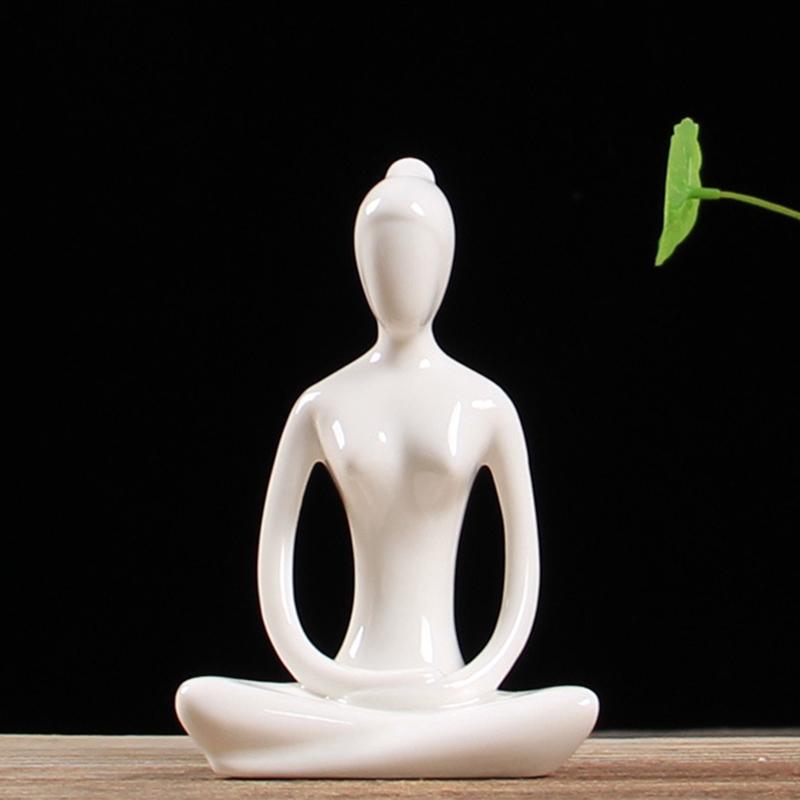 Abstract-Art-Ceramic-Yoga-Poses-Figurine-Porcelain-Yoga-Lady-Figure-Statue-H-4H9 miniature 91
