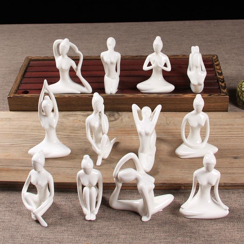 Abstract-Art-Ceramic-Yoga-Poses-Figurine-Porcelain-Yoga-Lady-Figure-Statue-H-4H9 miniature 97