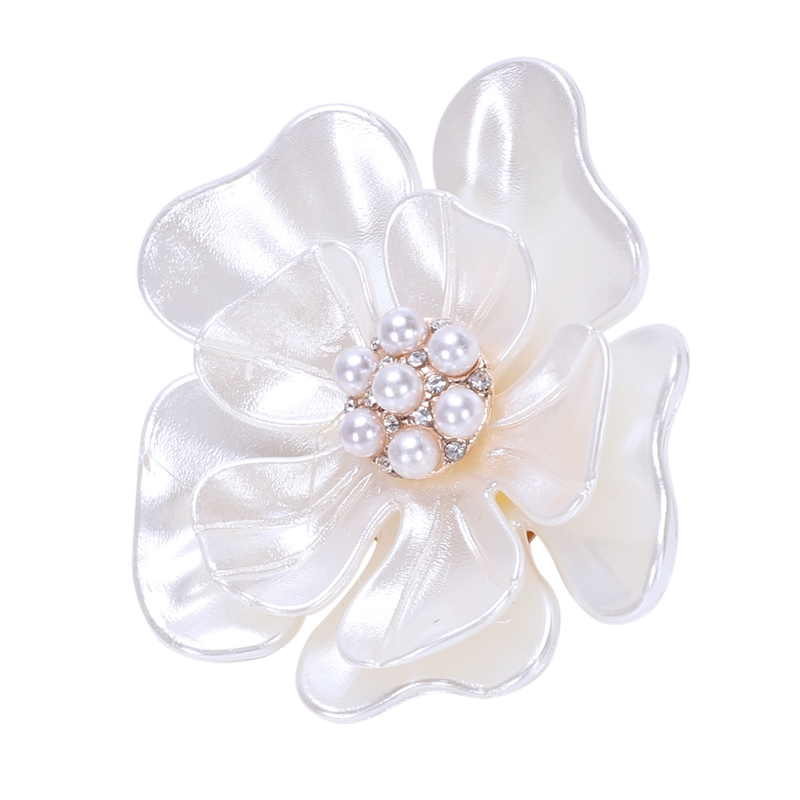 M/&C Pearl Camellia Scarf Clip Brooch Pin Hollow Out Shawl Buckle Women JewelryHC