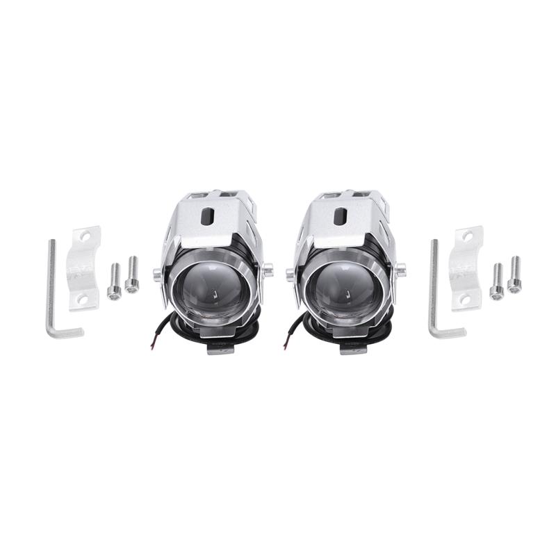 2x-125W-3000LM-CREE-LED-moto-moto-phare-conduire-spot-brouillard-U5-argent-T2H1 miniature 8
