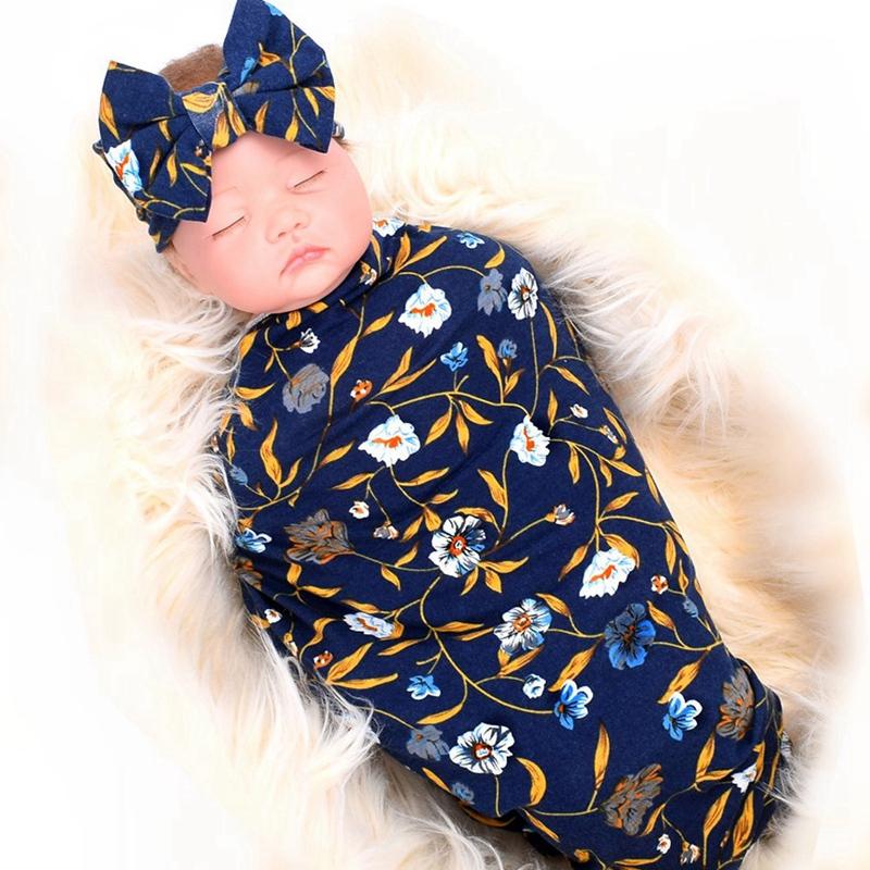 Neugeborene-Erhalten-Decke-Stirnband-Set-Flower-Print-Baby-Swaddle-A7G1 Indexbild 3