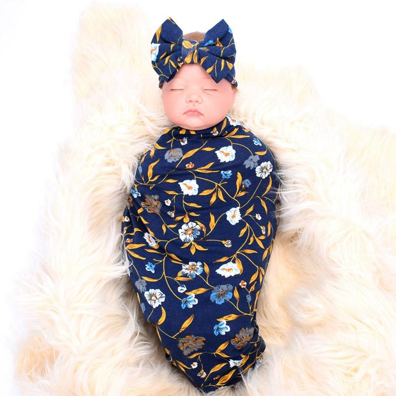 Neugeborene-Erhalten-Decke-Stirnband-Set-Flower-Print-Baby-Swaddle-A7G1 Indexbild 4