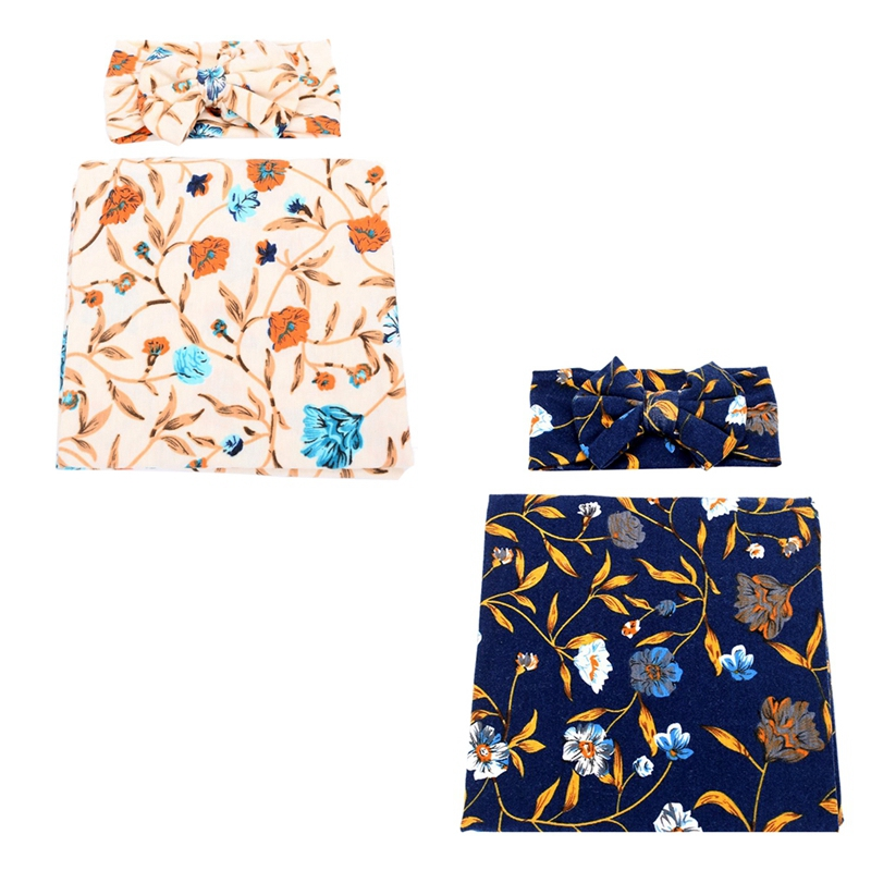 Neugeborene-Erhalten-Decke-Stirnband-Set-Flower-Print-Baby-Swaddle-A7G1 Indexbild 7