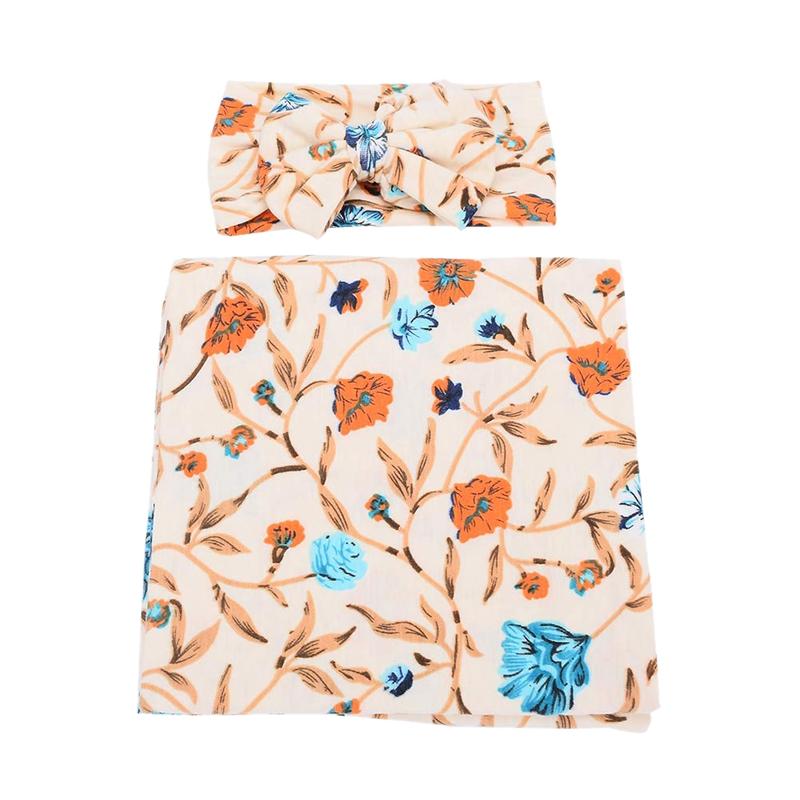 Neugeborene-Erhalten-Decke-Stirnband-Set-Flower-Print-Baby-Swaddle-A7G1 Indexbild 9