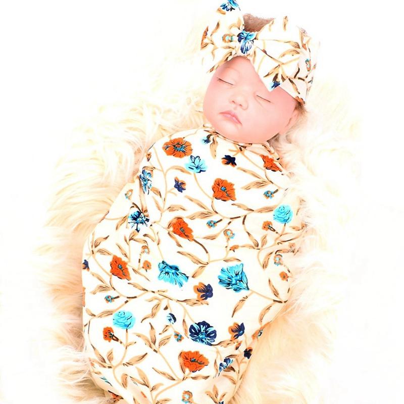 Neugeborene-Erhalten-Decke-Stirnband-Set-Flower-Print-Baby-Swaddle-A7G1 Indexbild 10