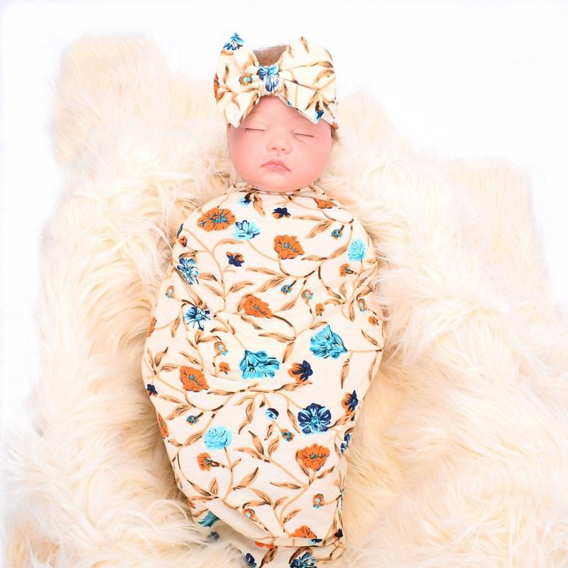 Neugeborene-Erhalten-Decke-Stirnband-Set-Flower-Print-Baby-Swaddle-A7G1 Indexbild 11