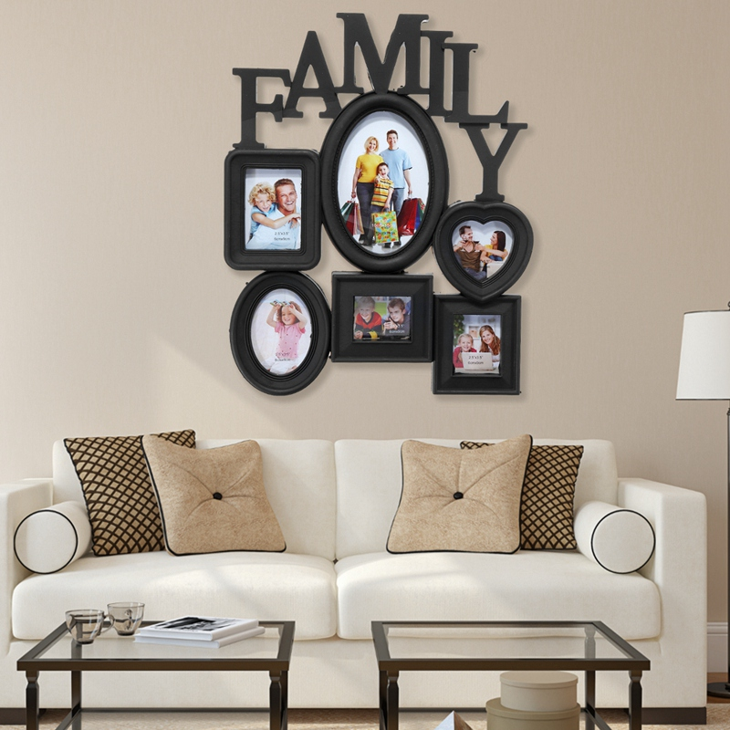 Family-Photo-Frame-Wall-Hanging-6-Multi-Sized-Pictures-Holder-Display-Home-T8W1 thumbnail 3