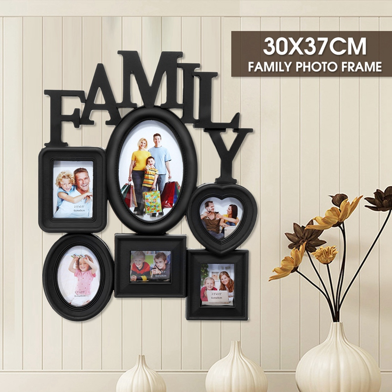 Family-Photo-Frame-Wall-Hanging-6-Multi-Sized-Pictures-Holder-Display-Home-T8W1 thumbnail 4