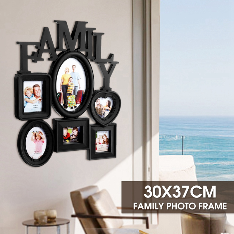 Family-Photo-Frame-Wall-Hanging-6-Multi-Sized-Pictures-Holder-Display-Home-T8W1 thumbnail 5