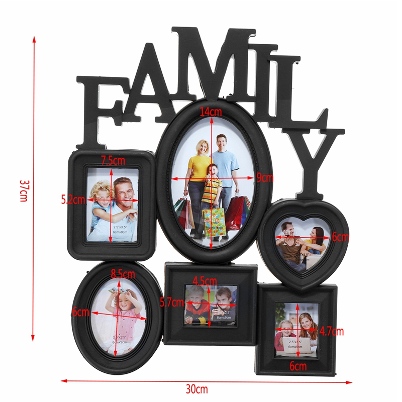 Family-Photo-Frame-Wall-Hanging-6-Multi-Sized-Pictures-Holder-Display-Home-T8W1 thumbnail 6